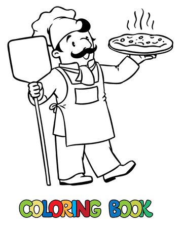 Coloring picture or coloring book of funny cook or chef or baker. Profession series. Children vector illustration.