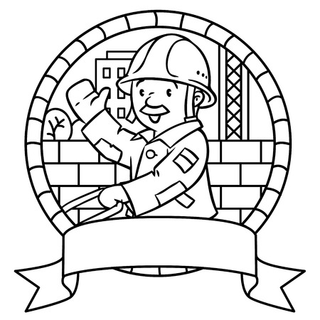white house: Coloring picture or coloring book of funny construction worker or builder with cart. Profession series. Childrens vector illustration.