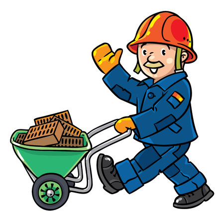 white house: Funny construction worker or builder with cart or truck waving by hand. Profession series. Childrens vector illustration.