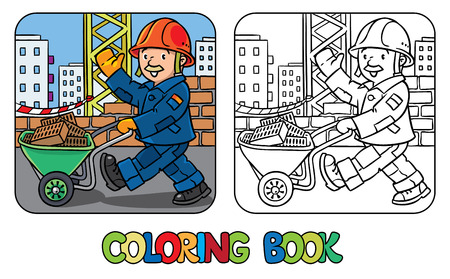 picture book: Coloring picture or coloring book of funny construction worker or builder with cartor truck waving by hand. Profession series. Childrens vector illustration.
