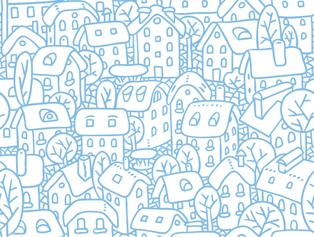 courtyard: Seamless pattern or vector background of the old european city with small funny houses in a courtyard and trees in winter Illustration