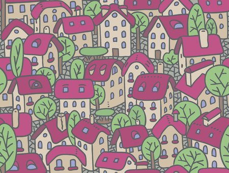 courtyard: Seamless pattern or vector background of the old european city with small funny houses in a courtyard and trees in spring