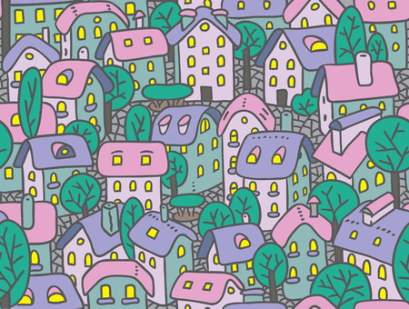 the courtyard: Seamless pattern or vector background of the old european city with small funny houses in a courtyard and trees early in the morning