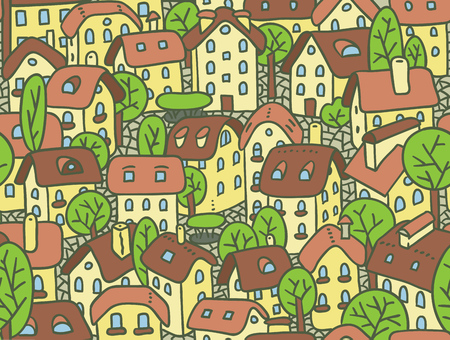 the courtyard: Seamless pattern or vector background of the old european city with small funny houses in a courtyard and trees in spring