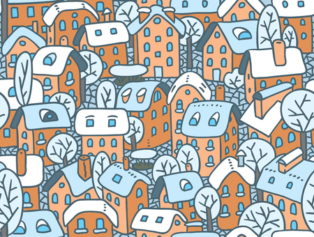 the courtyard: Seamless pattern or vector background of the old european city with small funny houses in a courtyard and trees in winter Illustration