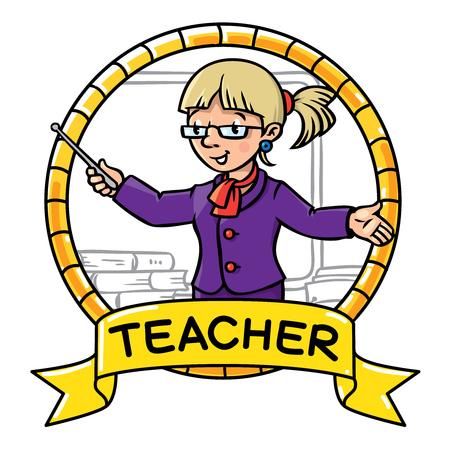 pointer emblem: Emblem of funny teacher with the pointer near the desk. Profession ABC series. Children vector illustration. Illustration