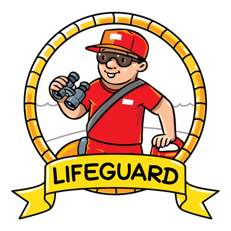 employe: Emblem of  funny lifegueard with equipment on the beach. Profession ABC series. Children vector illustration.