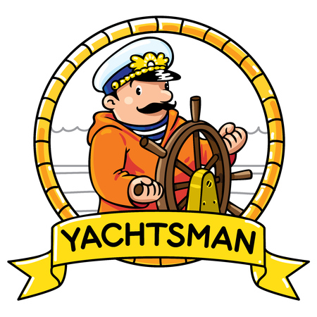 yachtsman: Emblem of funny captain or sailor, or yachtsman in coat, at the helm. Profession ABC series. Children vector illustration. Illustration