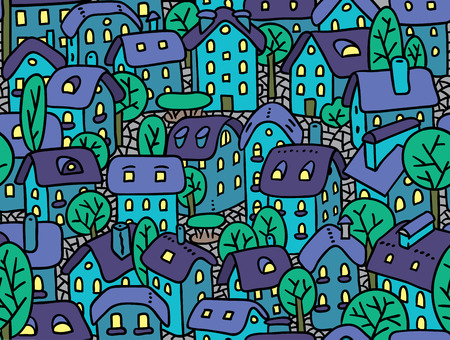 Seamless pattern or vector background of the old european city with small funny houses in a courtyard and trees in the night