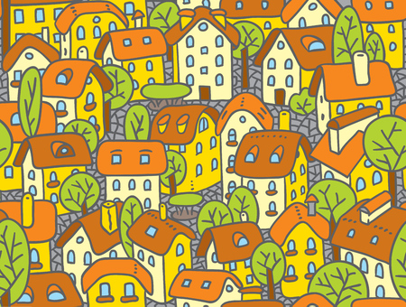Seamless pattern or vector background of the old european city with small funny houses in a courtyard and trees in spring
