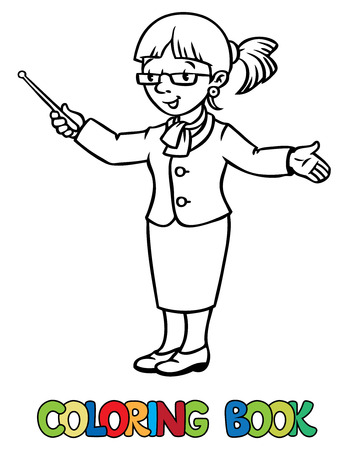 Coloring picture or coloring book of funny teacher with the pointer.  Profession series. Children vector illustration.