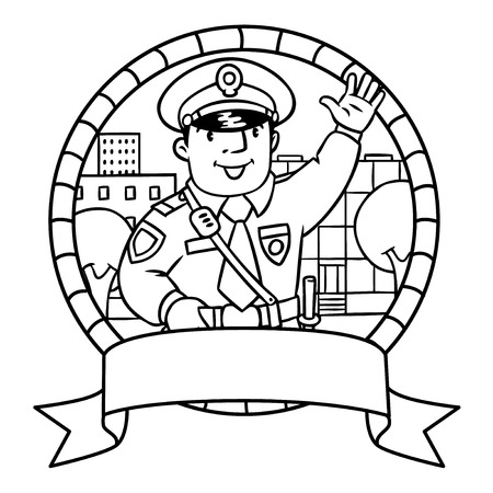 constabulary: Coloring book or emblem of funny policeman in uniform.   Profession series. Children vector illustration.