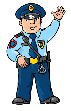 cockade: Children vector illustration of funny policeman in uniform waving by hand. Profession series.
