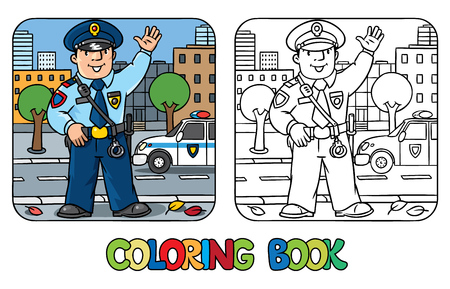 policeman: Coloring picture or coloring book of funny policeman in uniform.   Profession series. Children vector illustration.