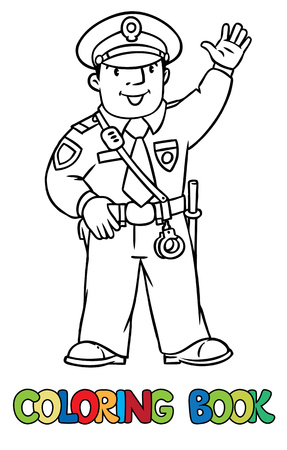 officer: Coloring picture or coloring book of funny policeman in uniform.   Profession series. Children vector illustration.