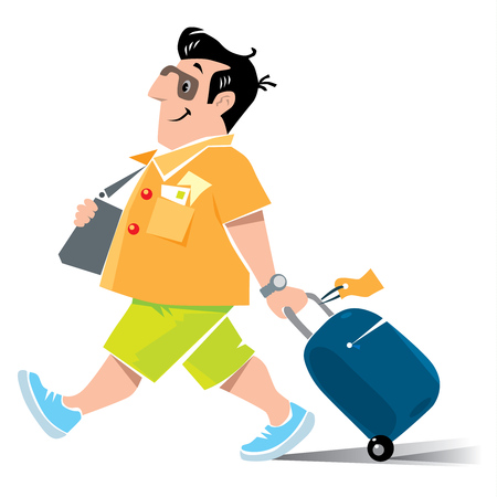voyager: Vector illustration of  funny fast paced man passenger with suitcase in shorts and sneakers Illustration