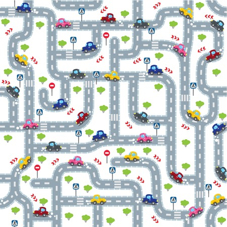 bush babies: Seamless pattern or background or labyrinth with roads, cars and traffic signs. Children vector illustration. Illustration