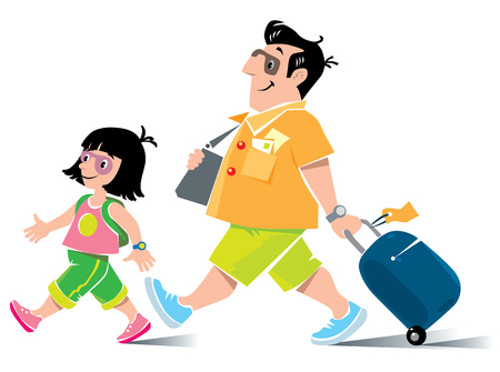 litle: Vector illustration of funny fast paced man passenger with suitcase, in shorts and sneakers, with litle girl, his daughter, with backpack Illustration