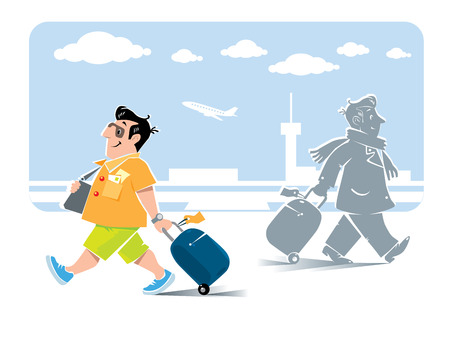 voyager: Vector illustration of  funny fast paced man passenger with suitcase in shorts and sneakers on the background of the airport