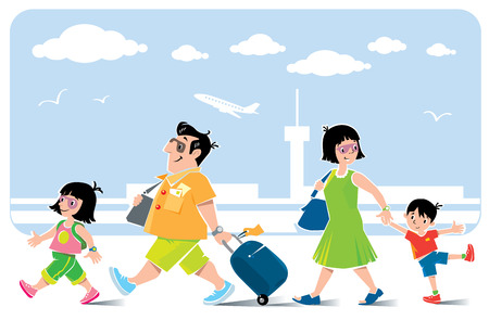 goes: Funny air passengers. Vector illustration of fast paced family, father with suitcase, litle girl, his daughter, goes ahead. Mother with son go behind them. On the background of the airport view