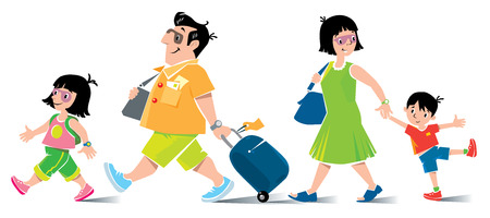 Funny family in airport. Vector illustration of fast paced family, father with suitcase, in shorts and sneakers, litle girl, his daughter, goes ahead with backpack. Mother with son go behind them. Vettoriali