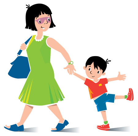 voyager: Vector illustration of fast paced funny mother in green dress and sunglasses with son in red t-shirt and shorts