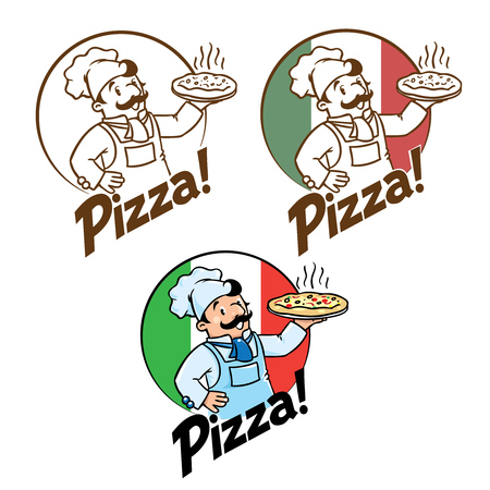 Emblem of funny cook or chef or baker with pizza and logo on background colors of the Italian flag. Two monochrome and one fullcolor version. Children vector illustration. Illustration