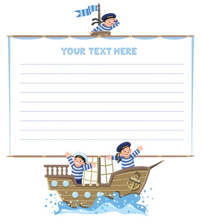 Template background with banner in the shape of a sail with a team of Jolly boys-sailors in vests and sailor hats on a sailboat.