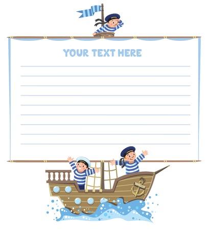 marinero: fondo de la plantilla con la bandera en la forma de una vela con un equipo de Jolly Boys-marineros en los chalecos y sombreros de marinero en un barco de vela.
