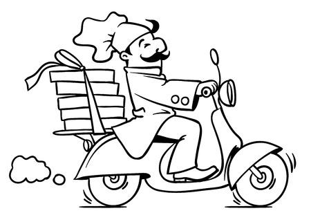 delivery boy: Emblem or illustration of funny pizza chef or baker rides a scooter or motobike with boxes of pizza, like courier or delivery boy.  Children vector illustration. Black and white version. Cartoon Illustration