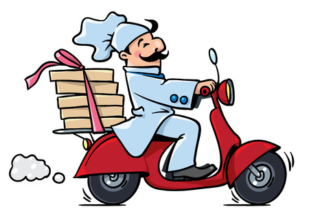 Emblem or illustration of funny pizza chef or baker rides a scooter or motobike with boxes of pizza, like courier or delivery boy.  Children vector illustration. Cartoon