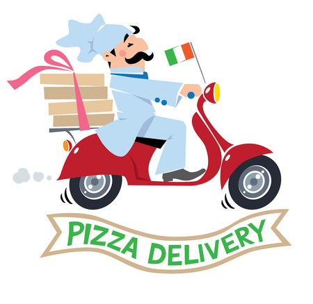 Emblem or illustration of funny pizza chef or baker rides a scooter or motobike with boxes of pizza, like courier or delivery boy.  Children vector illustration. Cartoon and Pizza Delivery logo