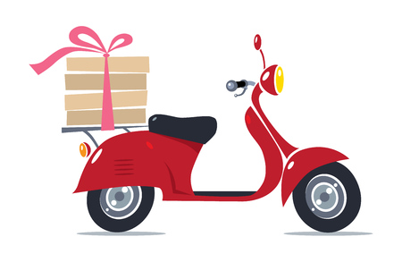 Pizza Delivery. Vector illustration of funny red scooter or motobike or moped with boxes of hot pizza, tied with rose ribbon Vettoriali