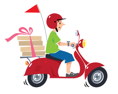 Emblem or illustration of funny pizza courier or delivery boy in helmet rides a scooter or motobike with boxes of pizza.  Children vector illustration. Cartoon