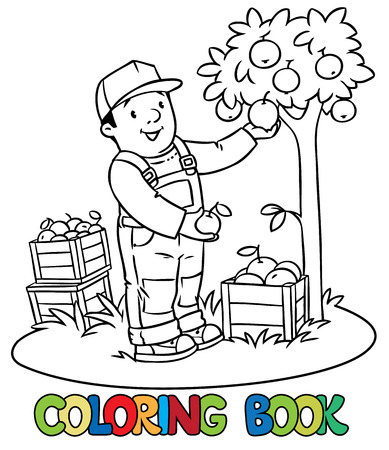 funny pictures: Coloring book of funny farmer or gardener in overall and baseball cap with apples in his hands near the apple tree, with boxes of apples. Profession series. Children vector illustration. Illustration