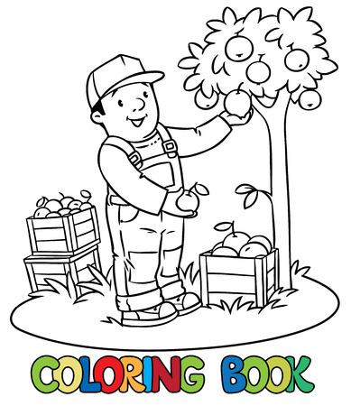 Libro Para Colorear De Agricultor Divertido O Jardinero En General Y ...