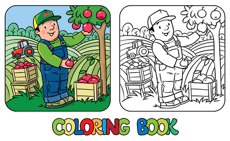 Coloring book of funny farmer or gardener in overall and baseball cap with apples in his hands near the apple tree, with boxes of apples. Profession series. Children vector illustration. Vettoriali