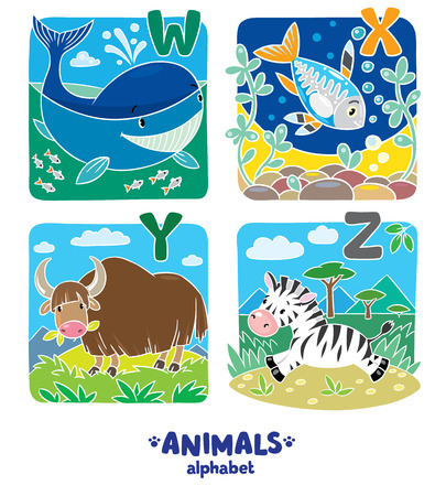 funny ox: Children vector illustration of funny whale, x-ray fish, yak and zebra.  Animals zoo alphabet or ABC.