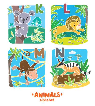 koala: ilustración vectorial de los niños koala divertido, numbat, el mono y el león. Alfabeto animales zoológico o ABC.