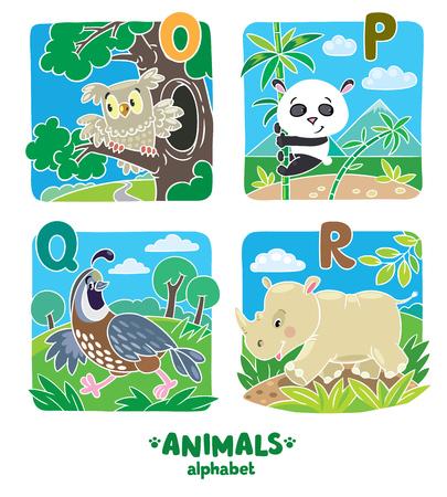 Children vector illustration of funny quail, rhino, owl and panda.  Animals zoo alphabet or ABC.