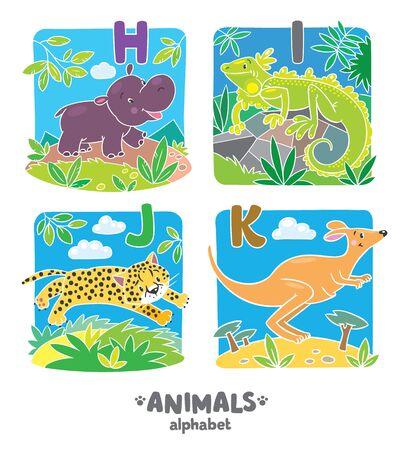 jaguar: ilustración vectorial de los niños hipopótamo divertido, iguana, el jaguar y el canguro. Alfabeto animales zoológico o ABC. Vectores