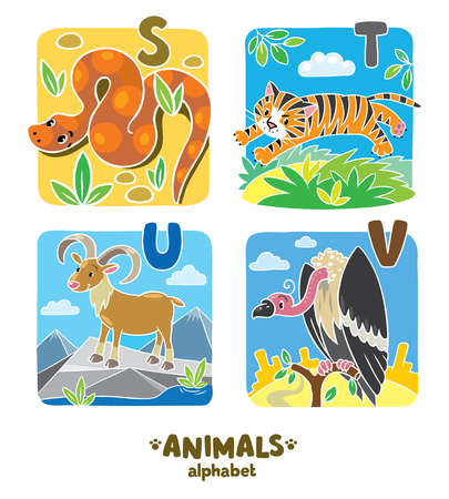 vulture: Children vector illustration of funny urial, vulture, snake and tiger.  Animals zoo alphabet or ABC. Illustration