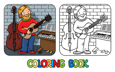 contrabass: Coloring book of funny musician or guitarist or artist with guitar on wall background near small piano and contrabass