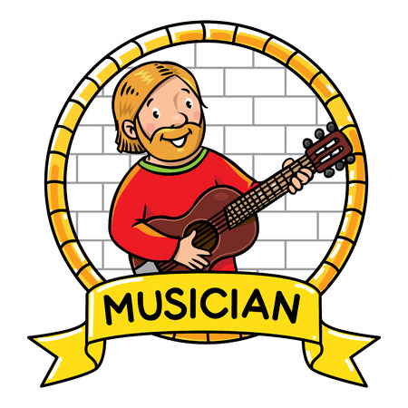 cartouche: Children illustration or emblem of funny musician or guitarist or artist with guitar on the wall background in round frame with cartouche.
