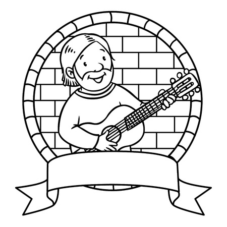 cartouche: Coloring book or emblem of funny musician or guitarist or artist with guitar in round frame with cartouche. Illustration