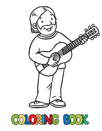 coloration: Coloring book of funny musician or guitarist or artist with guitar.