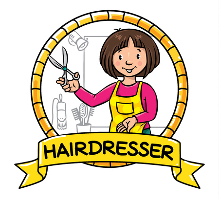 cartouche: Emblem of funny woman hairdresser with scissors near the mirror and hairdress equipment in round frame with cartouche. Profession ABC series. Illustration