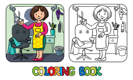 pinafore: Coloring book of funny woman hairdresser with scissors near the mirror, barber chair and hair dress equipment. Profession ABC series.