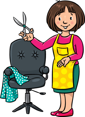pinafore: Children illustration of funny woman hairdresser with scissors near the barber chair. Profession ABC series.