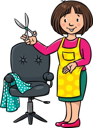 Enfants illustration drôle de coiffure femme avec des ciseaux près de la chaise de coiffeur. Profession série ABC. Vecteurs
